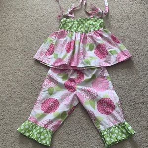 Kelly's Kids Two Piece Floral Bloomer Set EUC 2t